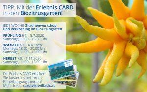 Mit der Erlebniscard in den BIO-Zitrusgarten